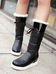 Women's Shoes Patent Leather Platform Snow Boots / Fashion Boots / Round Toe Boots Dress / Casual Black / White