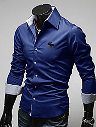 Men's Shirt Collar Casual Shirts , Cotton / Polyester Long Sleeve Casual / Work Embroidery / Fashion All Seasons D.B.L