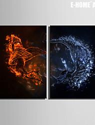 Animal / Fantaisie Toile Deux Panneaux Prêt à accrocher , Format Vertical