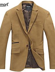 Lesmart Men's Fall Winter Thickened Business Casual Coat Easy-care woolen Suede Splice Slim Fit Suit Blazers
