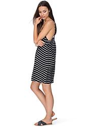 Women's Striped Navy Blue Dress , Sexy / Casual Strap / Round Neck Sleeveless