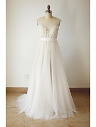 A-line Wedding Dress - Chic & Modern Wedding Dress in Color Sweep / Brush Train Scoop Tulle with Beading Button Sash / Ribbon Appliques