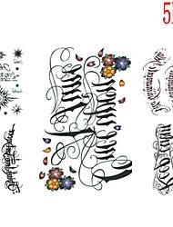 Tatuajes Adhesivos - Non Toxic/Modelo/Talla Grande/Tribal/Waterproof - Series de Flor - Mujer/Hombre/Juventud - Multicolor - Papel - 5 -