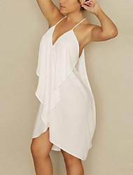 Women's Deep V Neck Low Cut Back Chiffon Dress