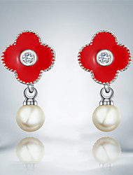 Earring Drop Earrings Jewelry Women Brass / Imitation Pearl / Silver Plated 2pcs Silver