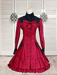 Sweet Lady Sleeveless Knee-length Black and Red Cotton Sweet Lolita Dress