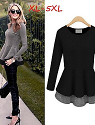 Women's Patchwork Black  Plus Size Dresses , Casual/Cute/Work Round Long Sleeve