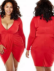 Women's Solid Red/White/Black Plus Size Dresses , Sexy/Casual V-Neck Long Sleeve