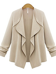 Women's Autumn Vogue New Lapel Solid Coat , Work/Plus Sizes Long Sleeve
