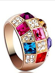 Lucky Doll Women's Zirconia Gemstone & Crystal colorful Ring