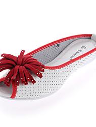 Синий / Желтый / Красный - Женская обувь - На каждый день - Кожа - На плоской подошве - С открытым носком / Удобная обувь -Сандалии /