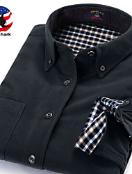 U&Shark Men's  Soft Business Long Sleeve Shirt with  Retro Corduroy of Sage Green/DXR020
