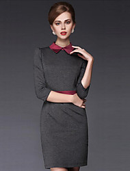 Women's Patchwork Gray Dress , Bodycon Shirt Collar ¾ Sleeve