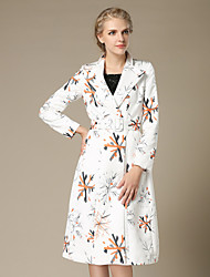 Women's Print White Long Maxi Trench Coat