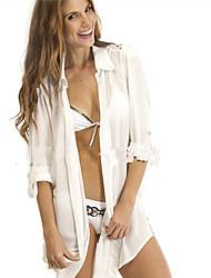 여성의 주름장식 라운드 넥 / 셔츠 카라 긴 소매 랩 면
