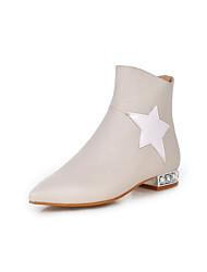 Zapatos de mujer - Tacón Bajo - Puntiagudos - Botas - Vestido - Semicuero - Negro / Rojo / Blanco / Beige