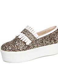 Scarpe Donna - Sneakers alla moda - Casual - Plateau / Creepers / Punta arrotondata - Plateau - Sintetico - Argento / Dorato