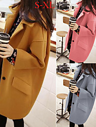 Women's Solid Color Blue / Pink / Yellow Coats & Jackets , Casual / Work Tailored Collar Long Sleeve