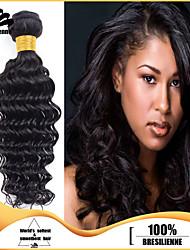 3pcs Brazilian Hair Bundles Weaves Natural Black Deep Wave Human Hair Weft 100% Unprocessed Brazilian Human Hair Weft
