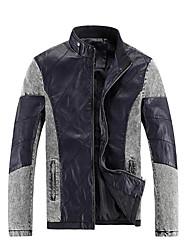 Men's Long Sleeve Jacket , Denim / Polyester / PU Casual / Sport Pure