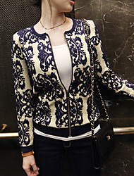 Women's Jacquard Blue/Black Cardigan , Casual Long Sleeve