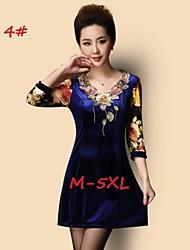 Women's Print Blue/Black Plus Size Dresses , Party/Work V-Neck ¾ Sleeve