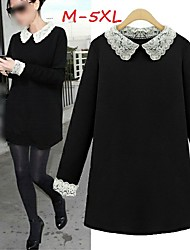 Women's Lace Black Dresses , Casual/Cute Round Long Sleeve