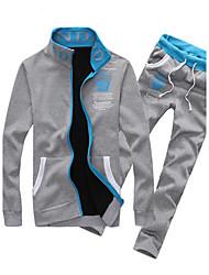 Sets Activewear Pour des hommes Manches longues Décontracté A Motifs Coton