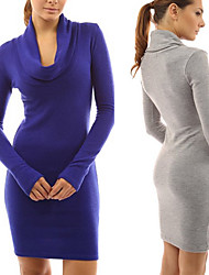 perfect Women's Solid Color Blue / Black / Brown / Gray Dresses , Sexy / Casual / Work High-Neck Long Sleeve