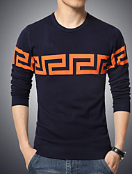 Men's Print Pullover , Cotton/Polyester Long Sleeve