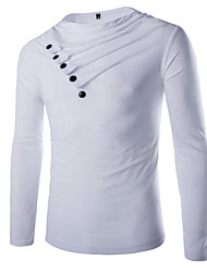 Men's Turtle Neck T-Shirts , Cotton / Viscose Long Sleeve Casual / Work Fashion Winter / Spring / Fall D.B.L