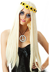 Hot Ladies High Fashion Festival Golden Wig With Long Straight Hair