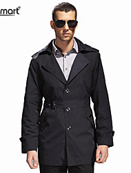 Lesmart Men's Fall Winter Business Casual Single Breasted Easy-care Anti-wrinkle With Belt Slim Fit Trench Coat