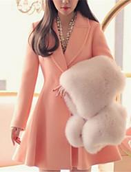 Women's Solid Pink / Black / Purple Coat , Casual Long Sleeve Wool / Cotton