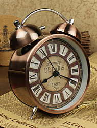 "Traditional/Retro/Vintage Bronze Style 4.5"" Twin Bell Metal Alarm Clock Antique Copper Clock with Roman Numerals Dial"