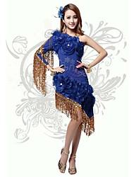Latin Dance Dresses Women's Performance/Training Polyester/Milk Fiber Cascading Ruffle/Draped/Flower(s)/Ruffles/Sequins