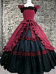 Long Sleeve Floor-length Red Cotton Gothic Lolita Dress