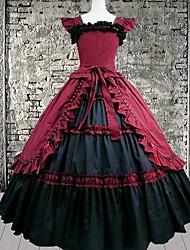lange mouw vloer lengte rode katoenen gothic lolita jurk