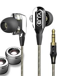 vjjb v1 cable de 3,5 mm de alta fidelidad estéreo de auriculares de unidad dual de ruido concierto profesional aislar el bajo para el