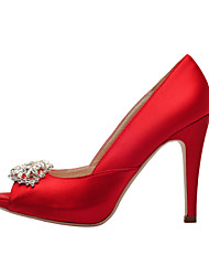 Women's Spring Summer Fall Platform Satin Wedding Dress Party & Evening Stiletto Heel Crystal Red White Champagne