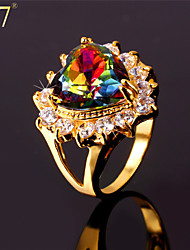 U7® Women's Prong Setting Multicolor Austrian Stone Clear Cubic Zirconia Gold Plated Romantic Love Heart Ring