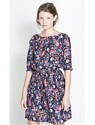 Summer New Women Party Dresses Crew Neck Floral Patterns Dress Backless Half Sleeve Chiffon Dress