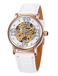 Women's Fasion Hollow Full-Automatic  Round Dial Leather Band Machine Analog Wrist Watch(Assorted Color)