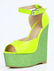 Women's Sandals Summer Wedges / Heels / Peep Toe / Sandals Party & Evening / Dress / Casual Wedge Heel Buckle Green