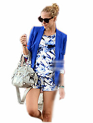 Women's Solid Blue / White / Black / Yellow Coats & Jackets , Bodycon Tailored Collar Long Sleeve