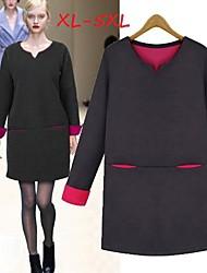 Women's Patchwork Black/Gray Plus Size Dresses , Casual/Work V-Neck Long Sleeve