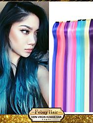 """10 цветов 22 """"длинный прямой сплошной цвет синтетического клип на волос подчеркивает в расширениях части для Хэллоуина"""