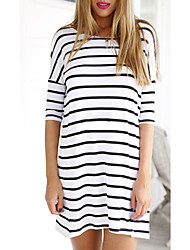 Women's Striped White Blouse , Round Neck ½ Length Sleeve