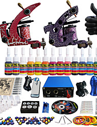 solong tattoo compleet tattoo kit pro 2 machinegeweren 14 inkten voeding naald grips