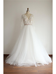A-line Wedding Dress Court Train V-neck Lace / Tulle with Beading / Lace / Sash / Ribbon